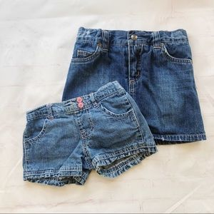 💐5/$25!💐Jean short & skirt bundle of 2 girls 4T